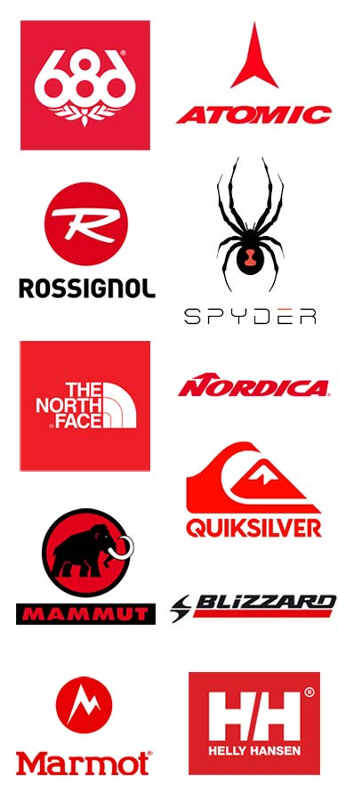 Logos of ski snowboard brands with red. 686, Rossignol, Northface, Mammut, Blizzard, Helly Hanson, Marmot, Nordica, Atomic, Spyder, and Quiksilver