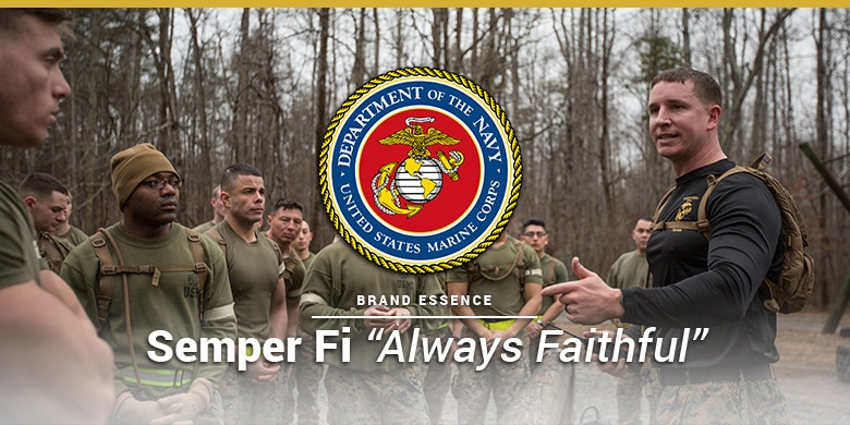 US Marine Corps brand essence is semper fi. Marine coprs unit training with a captain.