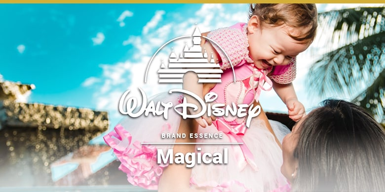Walt Disney's brand essence is magical. Little girl happy in a princess dress.