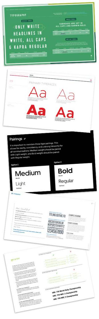 Examples of typography pages in brand guidelines.