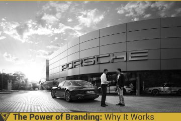Man accepting ownership of a Porsche Panamera in front of a Porsche dealership. Power of Branding: Why It Works