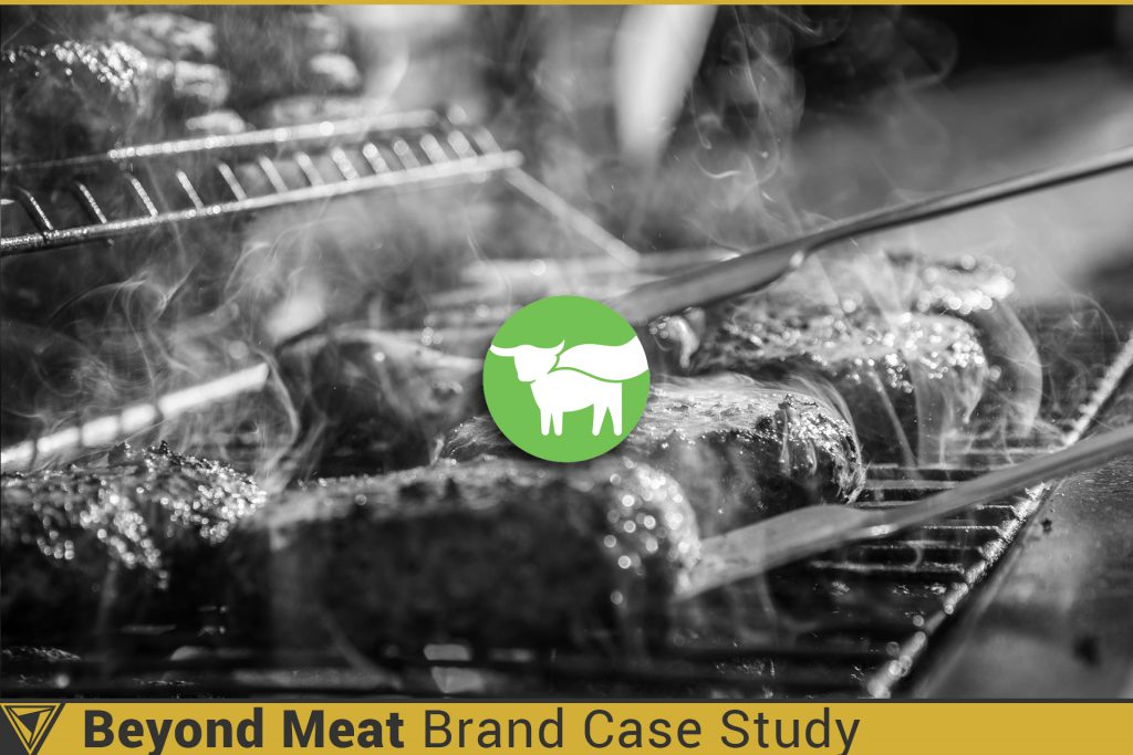 Beyond Meat Brand Case Study. Beyond Meat logo on a background of hamburgers being grilled on a barbecue.