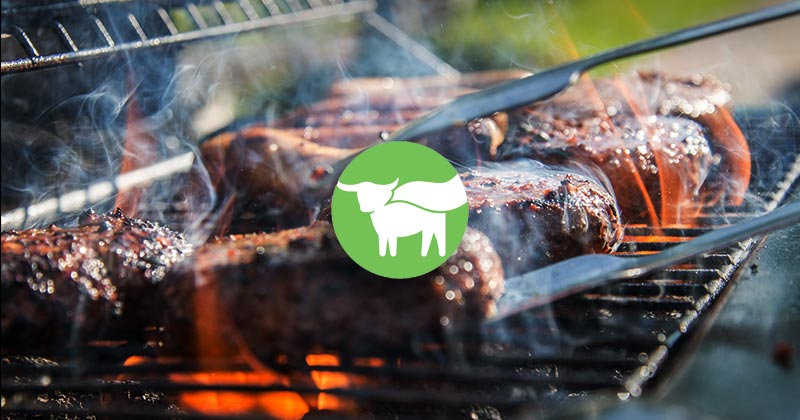 Beyond Meat icon logo on a barbecue with burgers on.