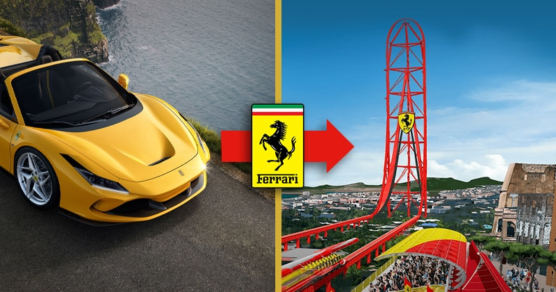 Brand extension example. Ferrari sports car to Ferrari theme park.