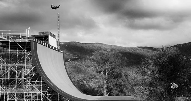 Danny Way making the world highest jump on an over sized quarter pipe.