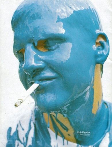 Rob Dyrdek covered in blue paint.