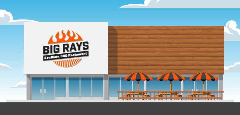 Exterior business sign for Bid Rays Southern BBQ Restaurant.