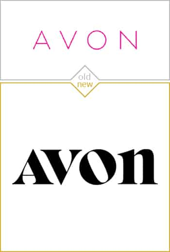 Old and new logo design of Avon