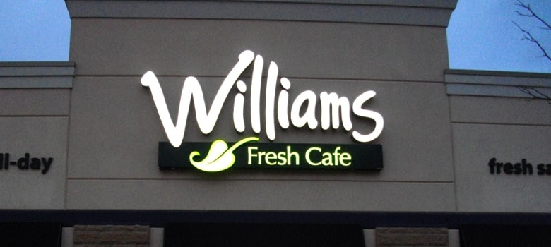 Channel Letter Sign. Williams Fresh Cafe.