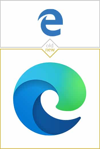 Old and new logo design of Microsoft Edge