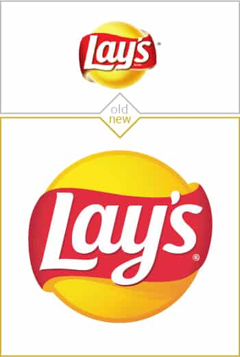 Old and new logo design of Lays potato chips