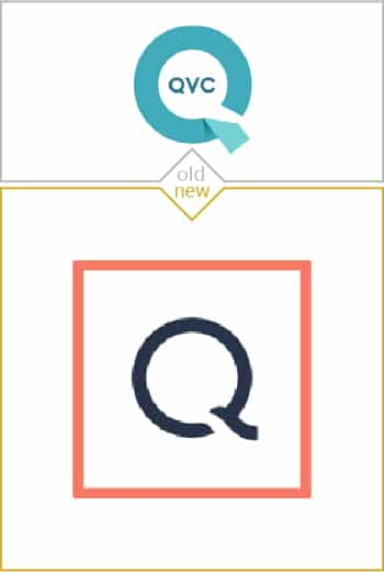 Old and new logo design of QVC