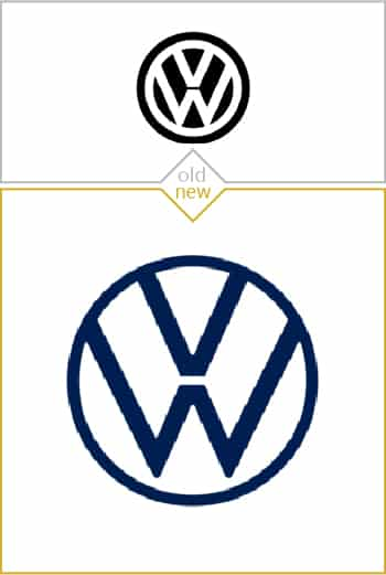 Old and new logo design of Volkswagen