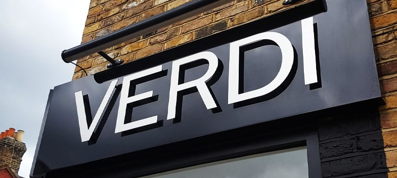 Cut Letter Sign. Verdi.