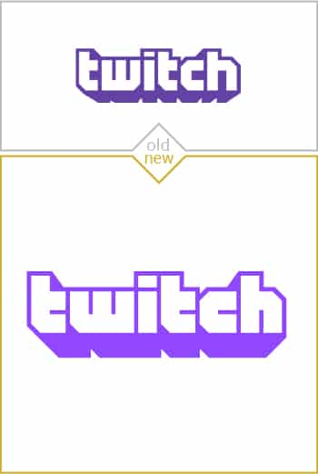 Old and new logo design of Twitch