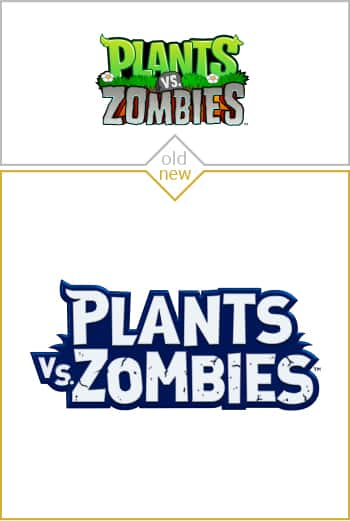 Old and new logo design of Plants vs Zombies