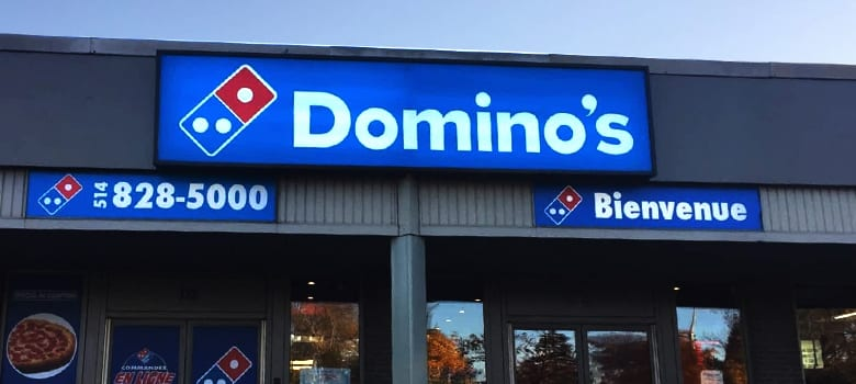 Light box sign. Domino's.