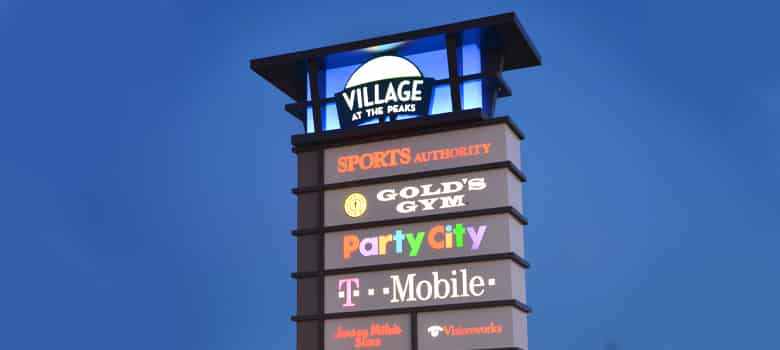 Pylon Sign. Village. Sports Authority. Gold's Gym. Party City. T-Mobile.