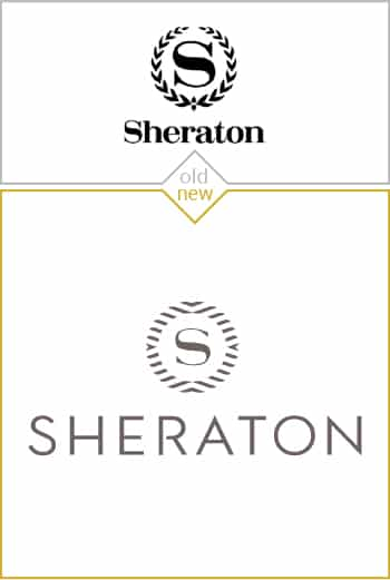 Old and new logo design of Sheraton hotels