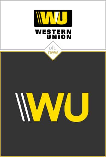 Old and new logo design of Western Union