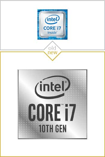 Old and new logo design of Core i7