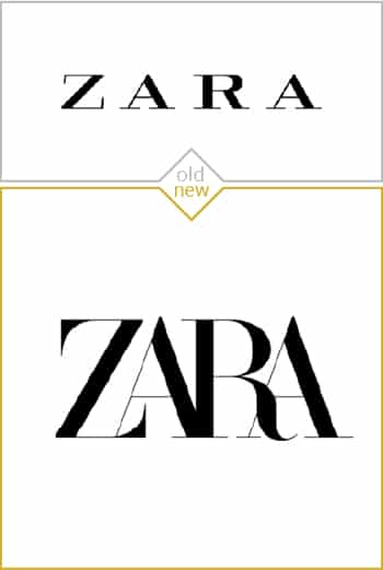 Old and new logo design of Zara
