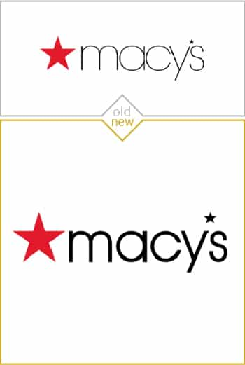 Old and new logo design of Macy's