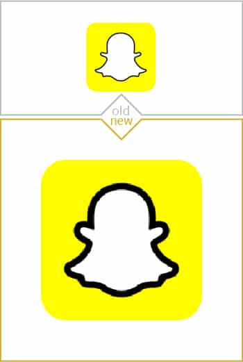 Old and new logo design of Snapchat