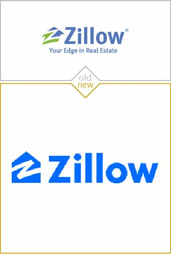 Old and new logo design of Zillow