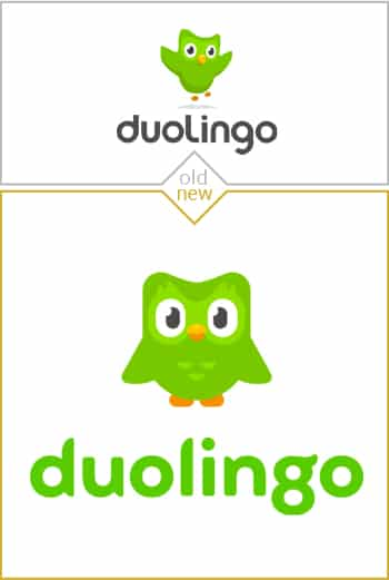 Old and new logo design of Duolingo