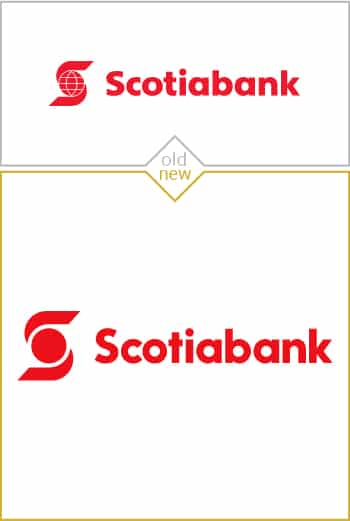 Old and new logo design of Scotiabank
