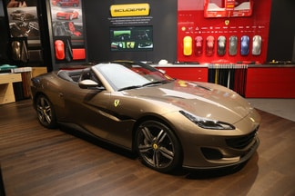 Ferrari in a showroom.