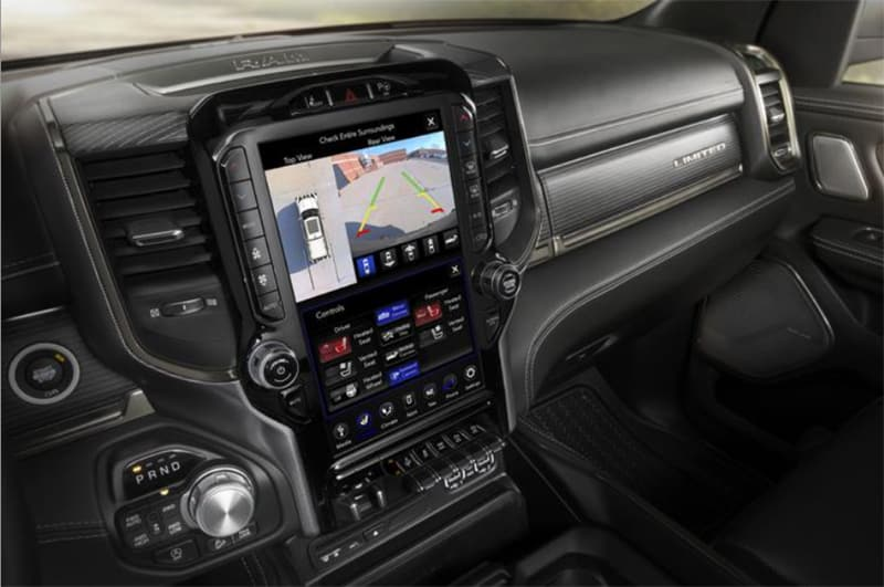 Back up camera in infotainment system of a 2021 Dodge Ram 1500