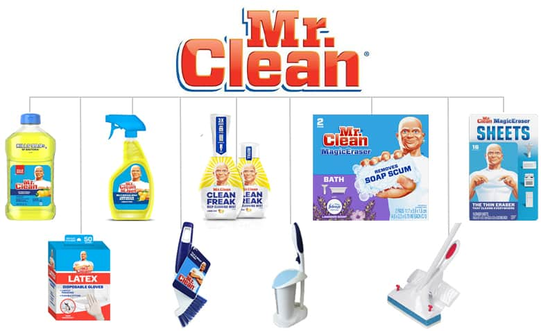 Mr. Clean umbrella brand. Cleaning fluid, spray bottle. Mr. Clean Clean Freak, Mr. Clean Magic Eraser lavender, Mr. Clean Sheets, Mr. Clean bloves, 2-in-2 brush, toilet scrubber, and mop.