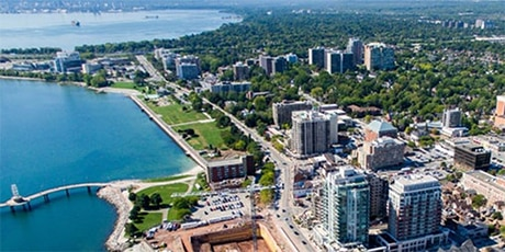 An aerial photo of the downtown core of Burlington, Ontario, Canada