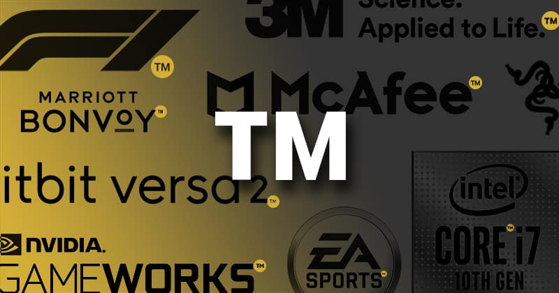 TM - Trademark. Examples of logos with TM. 3M, Fitbit Versa, EA Sports