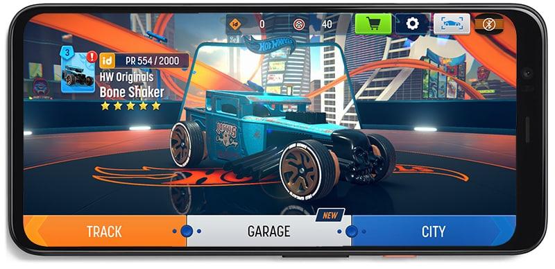 Hot Wheels id app on a phone showing Bone Shaker unlocked.