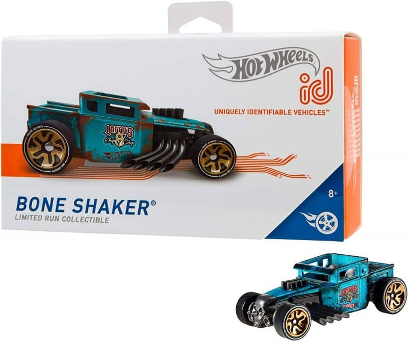 Hot Wheels id Boneshaker packaging and toy car