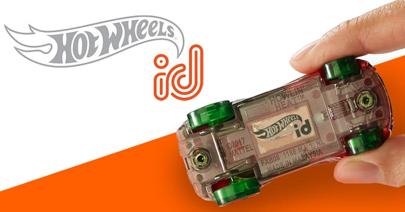 Hot Wheels id logo. Hot Wheels id car with rfid tag.