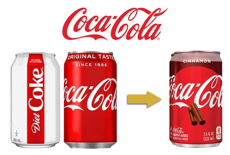 Coca-Cola logo. Diet Coke can, Coca-Cola can, and Cinnamon Coca-Cola can