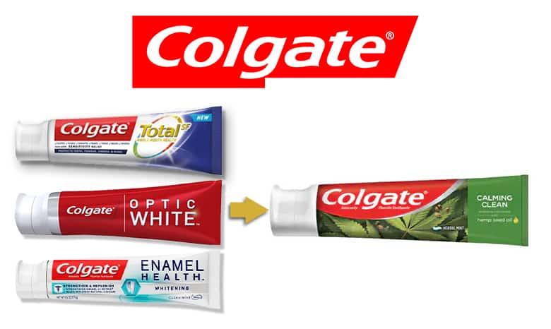 Colgate logo. Colgate Total tube, Colgate Optic white tube, Cogate Enamel Health tube and Colgate Calming Clean with Hemp Oil tube