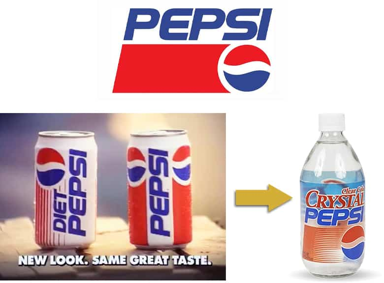 90s Pepsi logo. Diet Pepsi and Pepsi cans from the 90s. Crystal Pepsi bottle.
