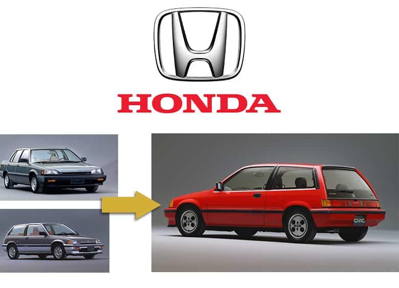 Honda logo. 1980s Honda Civic sedan, wagon and Si Hatchback