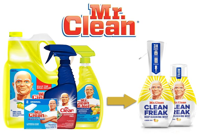 Mr. Clean product line. Mr. Clean Clean Freak starter bottle and refill.