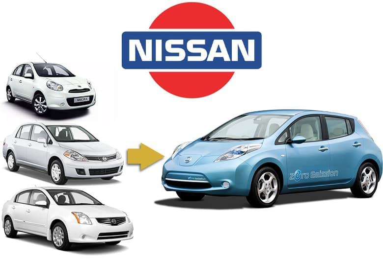 Old Nissan logo. Nissan Micra, Nissan Versa, Nissan Sentra and original Nissan Leaf.