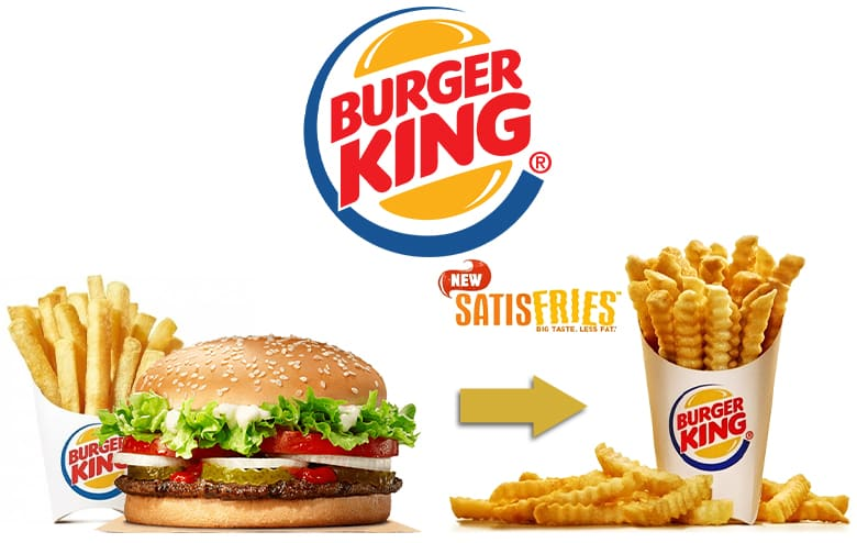 Burger King line extension: Satisfries. Image of a whopper, fries, and the satisfries.
