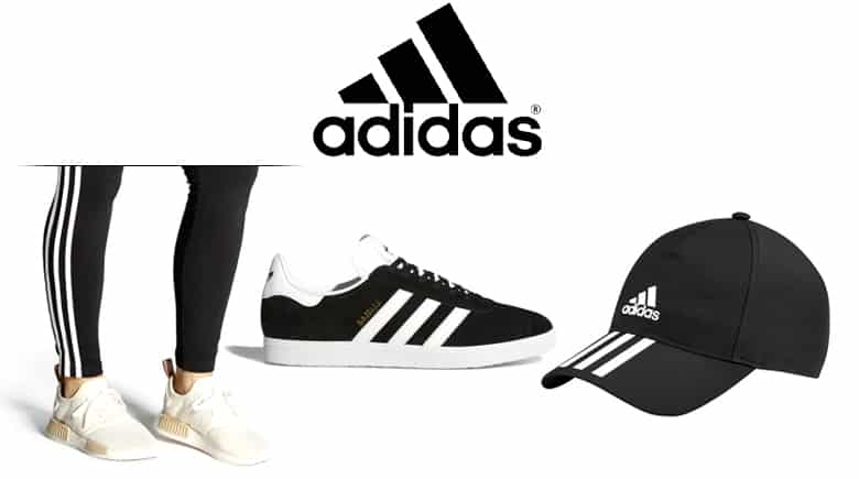 Adidas logo and products with the Adidas triple stripes, leggings, sneakers, baseball cap.