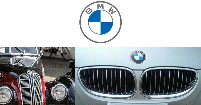 BMW logo and BMW double kidney grills