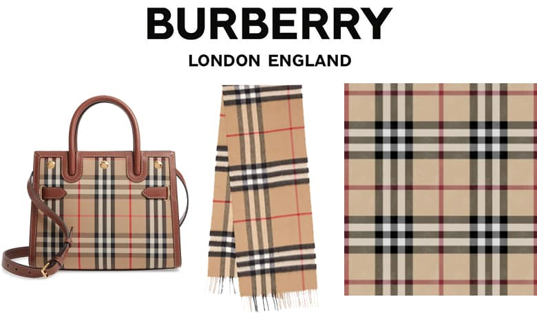 Burberry London England and products with the Burberry pattern, bag and scarf. Swatch of the Burberry pattern.