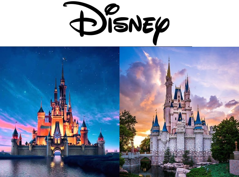 Disney Logo. Disney castle from the opening to movies, and the Cinderella castle at Disneyland